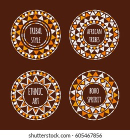 Unique round tribal logo template collection vector. African hand drawn design for branding, badge, poster, apparel print, sticker or labels.