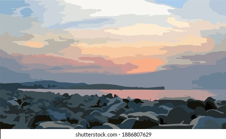 unique scenery of watercolor model sunset. vector illustration of beach sunset, rocks on the beach in the afternoon