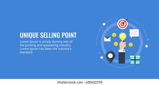 Unique selling point, modern marketing campaign, branding flat style vector banner with icons and texts