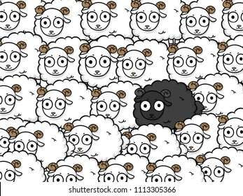 unique sheep vector business design, Different animals concept,leader lamb cartoon character illustration , prominent black sheep.