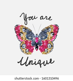 unique slogan with butterfly sequins illustration for fashion print