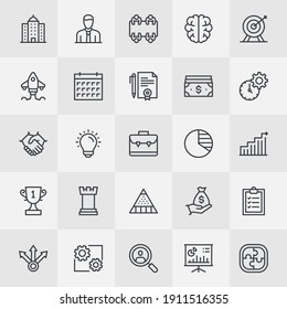 Unique Style Icons for mobile app, web design and infographic elements of Business Strategy and Financial Management topics. Pictogram collection of Corporate Business Environment topics.