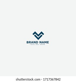 Unique stylish connected black and white MV VM M V initial based icon logo