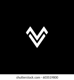 Unique stylish connected black and white MV VM M V initial based icon logo