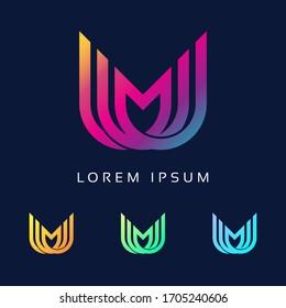 Unique stylish connected Colorful MU M U initial based icon logo