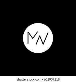 Unique stylish fashion brand trendy black and white color MW initial based letter icon logo