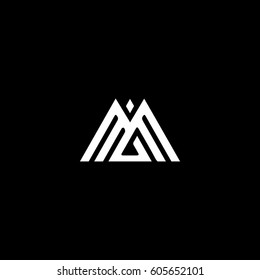 Unique stylish triangular shape black and white color M MM initial based letter icon logo