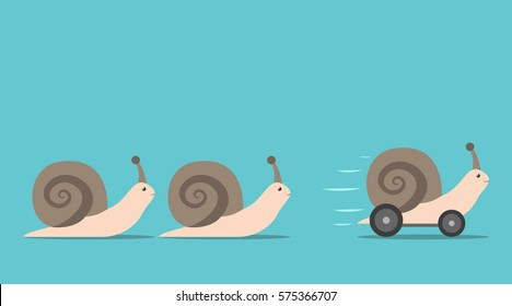 Unique successful fast moving snail with wheels in front of some slow ones. Competition, competitive advantage and innovation concept. Flat design. EPS 8 vector illustration, no transparency