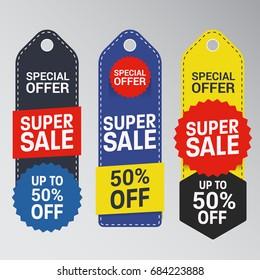 Unique Super Sale Banner with Discount Tag. Flat Color Style Promotional Design