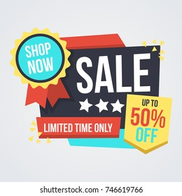 Unique Super Sale Banner with Discount Tag. Flat Color Style Promotional Design