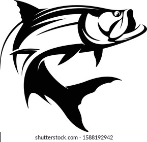 Unique Tarpon Jumping out of Vector. Great for Tarpon Fishing Logo & Template, strong, simple & Elegant looking