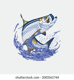 Unique Tarpon Jumping out of Vector illustration
