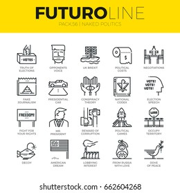 Unique thin line icons set of truth about politics and political games. Premium quality outline symbol collection. Modern linear pictogram, metaphors pack. Stroke vector logo concept for web graphics.