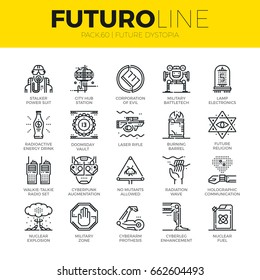 Unique thin line icons set of future world dystopia, nuclear disaster. Premium quality outline symbol collection. Modern linear pictogram pack of metaphors. Stroke vector logo concept for web graphics