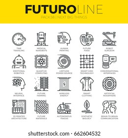 Unique thin line icons set of new future innovation in technology. Premium quality outline symbol collection. Modern linear pictogram pack of metaphors. Stroke vector logo concept for web graphics.
