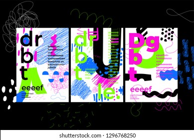 Unique Trendy Artistic Collection Of Abstract Posters, Shapes In Handmade Technique. You Need Only Few Minutes To Create Your Own Design For Stories, Magazine, Leaflet, Billboard