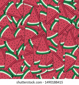 Unique and Trendy Pile of Watermelon Irregular Seamless Pattern. Unique and Trendy irregular seamless pattern background for your unique design.