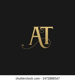 Unique trendy stylish AT initial based letter icon logo