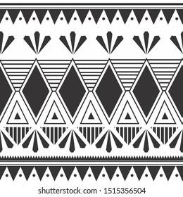 Unique tribal hand drawn Maori style seamless pattern motifs colorful design vector ready for fashion textile print.