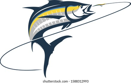 Unique Tuna Jumping out of Water, Great for fishing Logo & Shirts.