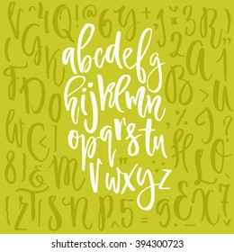 Unique vector alphabet. Modern calligraphy font. Vector letters isolated and easy to use. Latin alphabet. Educational poster.