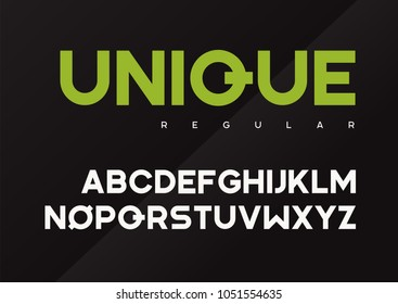 Unique vector bold industrial typeface design, uppercase letters, alphabet, font, typography. Global swatches.