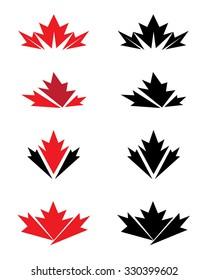 Unique Vector Canadian Maple Leaf Icon Set