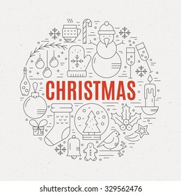 Unique vector concept with different christmas and new year celebration elements. Clean and easy to edit. Unique illustration for t-shirts, banners, flyers and other types of business design.