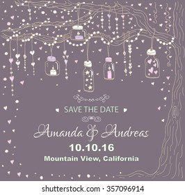 Unique vector wedding cards template with hand drawn tree decorated with lantern, hearts, candle, garland, Wedding invitation or save the date, RSVP and thank you card for bridal design, natural style