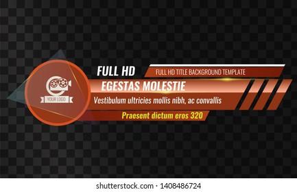Unique Video headline title or lower third template. Vector illustration - Orange color
