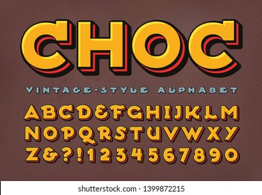A unique vintage alphabet with dimensional layers, well suited in style and color to chocolate packaging and branding