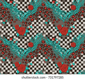 Unique, Vintage Style Wild & Crazy Rock 'n Roll Chevron with Rose, Stars, Tiger Stripe, Leopard Print, Checkerboard Seamless Tile Pattern for Rock Stars