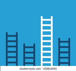 Unique white success ladder and many short ones on blue background. Competition, career and leadership concept. Flat design. EPS 8 vector illustration, no transparency