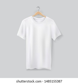 Unisex 3d t-shirt on clothes hanger. Tshirt blank template for shop or retail. Clothing mockup or apparel advertising. u-neck collar and short sleeves. Textile
