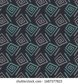 Unisex abstract geometric seamless vector pattern in dark colors. Ethnic surface print design. For fabrics, stationery, packaging and backgrounds.