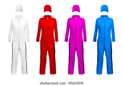 Unisex blank sport suits template.