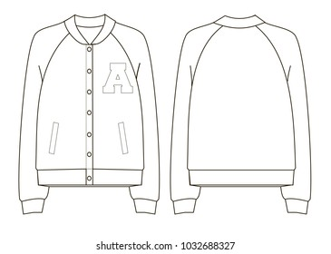 unisex college bomber jacket technical sketch back and front view