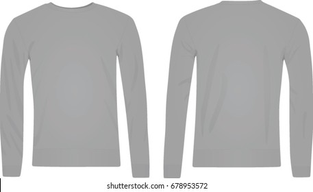 Unisex grey sweater. front and back side. vector illustration