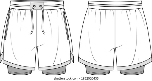 Unisex Performance Running Shorts- Shorts technical fashion illustration. Flat apparel shorts template front and back, white colour. Unisex CAD mock-up.