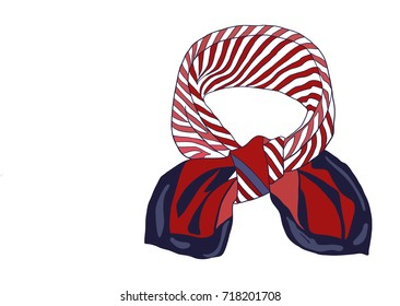 Unisex Red Silk Scarf isolated on white.