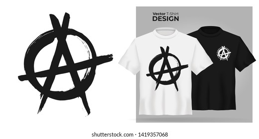 Unisex t-shirt mock up set with Anarchy hand drawn brush vector symbol. 3d realistic shirt template with Punk rock protest letter A icon. Black and white tee mockup, front view design - vector