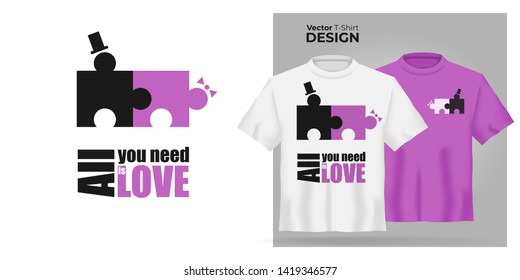 Unisex t-shirt mock up set with type All You Need is Love. 3d realistic shirt template with motivation poster with puzzle man and woman have sex. Pink and white tee mockup, front view design - vector