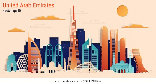 United Arab Emirates colorful paper cut style, vector stock illustration. Cityscape with all famous buildings. Skyline UAE composition for design