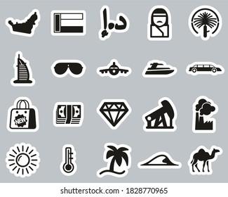 United Arab Emirates Country & Culture Icons Black & White Sticker Set Big