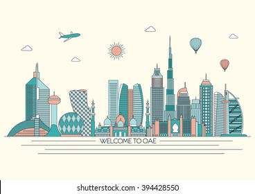 United Arab Emirates detailed skyline. Travel and tourism background. Vector background. line illustration. Line art style