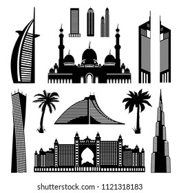 United Arab Emirates Dubai architectural monuments set, Abu Dhabi landmarks detailed outline silhouette. Vector Illustration isolated on white. Perfect for travel infographics, t-shirts, print design