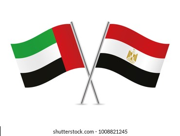 United Arab Emirates and Egypt flags. Vector illustration.