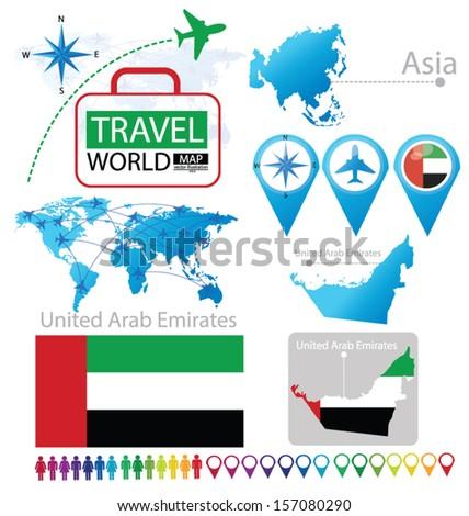 United Arab Emirates Flag Asia World Stock Vector (Royalty Free ...