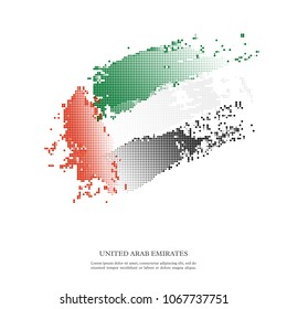 United Arab Emirates flag with halftone effect, grunge texture. Isolated on white background. Vector illustration.