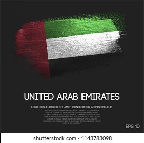 United Arab Emirates Flag Made of Glitter Sparkle Brush Paint Vector